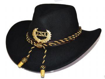 Confederate Black Slouch Hat Black Gold Cord & Metal CSA Badge